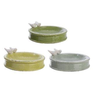 dekorative runde Vogeltränke mit Vögelchen in 3 möglichen Farben Preis für 1 Stück
