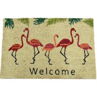rutschfeste Fussmatte Kokosmatte Trittmatte Flamingo