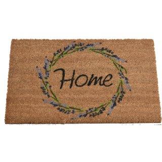rutschfeste Fussmatte Kokosmatte Trittmatte Motiv Lavendel mit Schriftzug Home