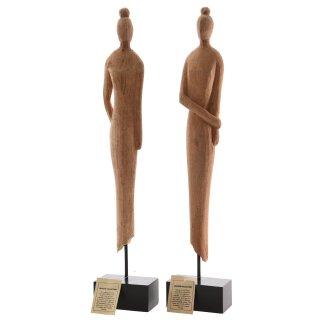 Dekofigur Dame mit Dutt Holz natur 2 Variationen zur Auswahl
