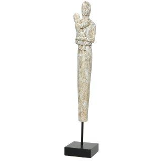 Dekofigur Skulptur Dame Mutter mit Kind aus Mangoholz weiß patiniert