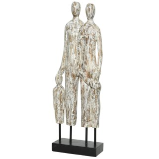 Dekofigur Skulptur Paar mit Kindern aus Mangoholz weiß patiniert