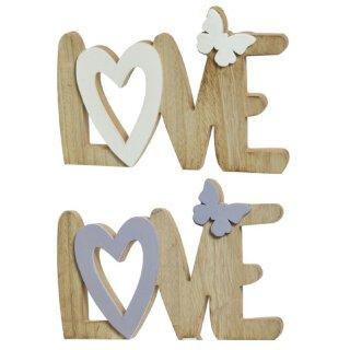 dekorativer Schriftzug Love mit Schmetterling Holz in 2 möglichen Farben