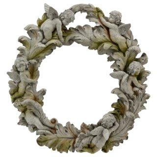 dekorativer nostalgischer Deko-Kranz mit Blättern und Engeln antikgrau im Landhaus-Stil