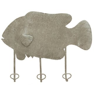 dekorative Wanddeko Wandhaken Fisch aus Metall