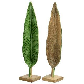 dekoratives Deko-Objekt Blatt aus Teakholz mit grünem Lack oder Natur Preis für 1 Stück
