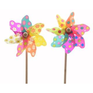dekorative fröhlich bunte Windmühle Windrad auf Stab wetterfestes PVC bunt Preis für 2 Stück