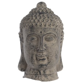dekorativer Buddha-Kopf Keramik braungrau patiniert