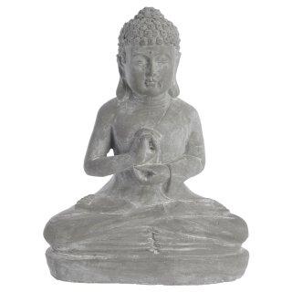 dekorative Buddha Figur sitzend Keramik grau patiniert