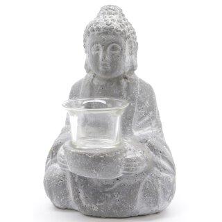 dekorative kleine Buddha Figur sitzend mit Teelichtglas Keramik grau patiniert