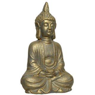 dekorative Buddha Figur sitzend bronzefarbig antik patiniert