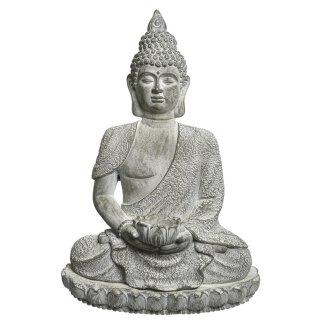 ausgefallene dekorative sitzende Buddha-Figur als Wanddeko in hellgrau-weiß