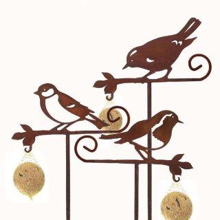 dekorativer Meisenknödelhalter als Gartenstecker Motiv Vögel Preis für 3 Stück