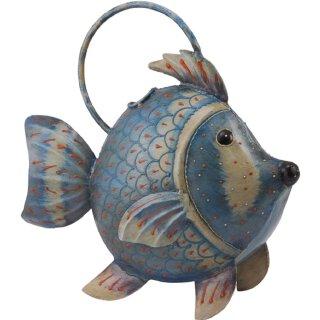dekorative Gießkanne als Fisch Metall handbemalt