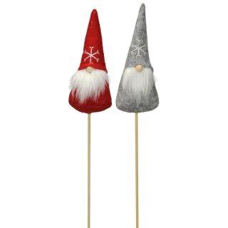 kleiner Dekostecker Pick Wichtel Gnom Zwerg mit Bart am Stab Filz und Holz in rot und grau