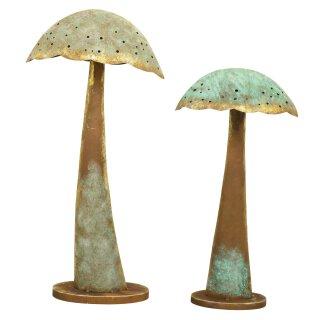 dekorativer ausgefallener Deko-Pilz aus Metall bronze-kupfergrün patiniert in 2 möglichen Größen