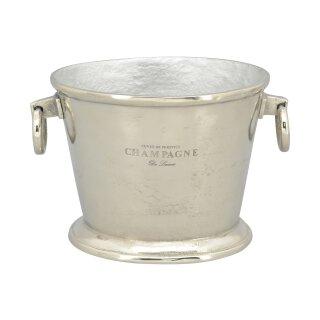 klassischer eleganter Champagnerkühler Sektkühler Flaschenkühler oval Aluminium poliert