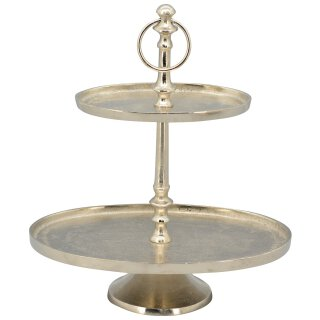 dekorative ovale Deko-Etagere Tisch-Etagere Küchen-Etagere 2-stufig Metall vintage Landhaus Stil