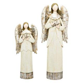 dekorativer stimmungsvoller Deko-Engel Metall-Engel creme-silber in 2 möglichen Größen