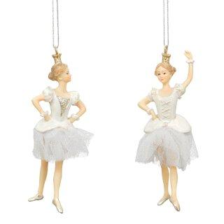 dekorativer Deko-Anhänger Prima-Ballerina in weiß mit Tüllröckchen Preis für 2-er Set