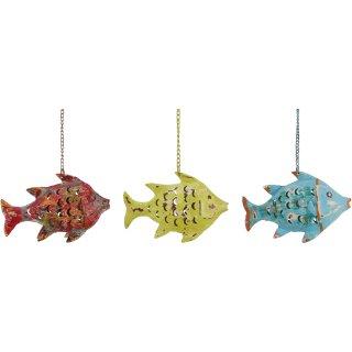 Metallfigur Fisch als Windlicht zum hängen und stellen in 3 möglichen Farben