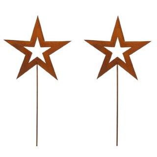 weihnachtlicher stimmungsvoller Deko-Stecker Garten-Stecker Stern 2 Stück