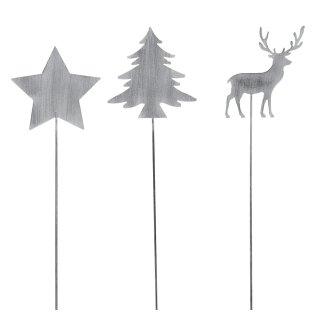 weihnachtlicher Deko-Stecker Garten-Stecker 3 Motive Stern-Hirsch-Tanne sortiert Preis für 3-er Set hellgrau