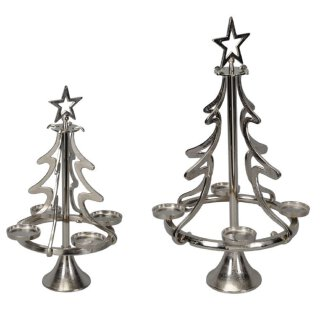 stimmungsvoller Adventkranz Adventbaum Teelichthalter Baum Aluminium silberfarbig in 2 möglichen Größen