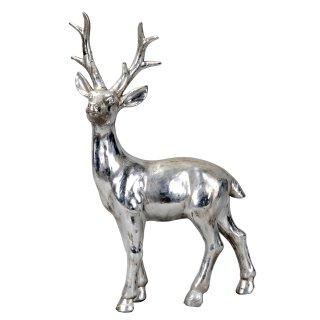 extra großer dekorativer Deko-Hirsch Weihnachtshirsch silberfarbig mit matt antiker Patina