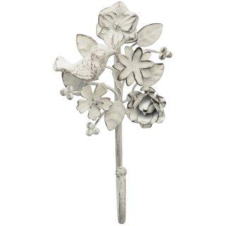dekorativer Wandhaken Blüten und Vögelchen cremeweiß shabby Landhausstil Preis für 2 Stück