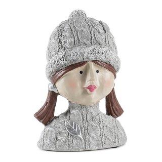 Dekokopf im Strickpulli mit Mütze