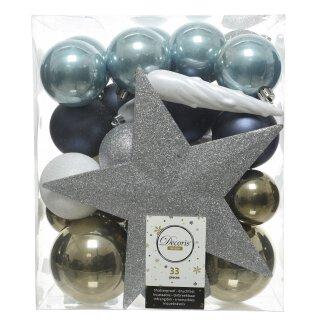 33er Set Kugelmix PVC mit Sternspitze blau/eisblau/weiß/silber/lindgrün Weihnachtskugeln Baumschmuck bruchfest Christbaumschmuck