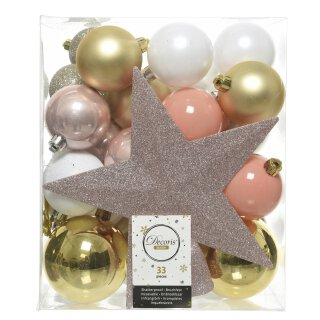 33er Set Kugelmix PVC mit Sternspitze weiß/gold/puderrosa/bonbonrosa/champagner Weihnachtskugeln Baumschmuck bruchfest Christbaumschmuck
