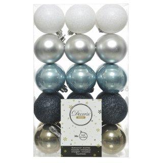 30er Set Kugelmix PVC weiß/silber/eisblau/blau/lindgrün Weihnachtskugeln Baumschmuck bruchfest Christbaumschmuck