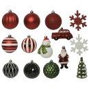 25-er Set dekorativer Figuren-Kugelmix PVC rot/grün/weiß Weihnachtskugeln Baumschmuck bruchfest Christbaumschmuck