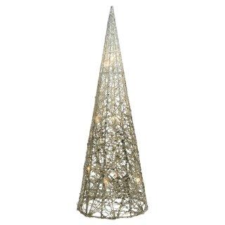 dekorative LED- Leuchtpyramide nur für innen mit Gold-Silber- Glitzer ca. 60 cm hoch