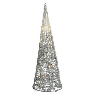 dekorative LED- Leuchtpyramide nur für innen mit Silber- Glitzer ca. 60 cm hoch
