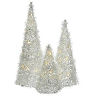 dekorative LED- Leuchtpyramide nur für innen mit weiß-transparentem Plüschglitzer in verschiedenen Größen