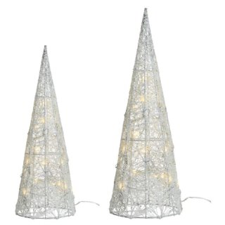 dekorative LED- Leuchtpyramide nur für innen mit silbernem Glitzer in verschiedenen Größen
