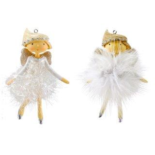 dekorativer putzige Deko-Anhänger Engelchen in weiß mit Federröckchen Preis für 2-er Set