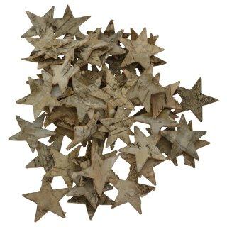 dekorative weihnachtliche Streudeko Tischdeko Basteldeko Sterne 4 cm aus Birkenrinde