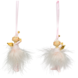 dekorativer putzige Deko-Anhänger Engelchen in rosa-weiß mit Federröckchen 2 Stück