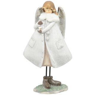 dekorativer großer nostalgischer Deko Engel mit Plüschkragen silber-weiß mit Glitzer