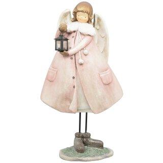 dekorativer großer nostalgischer Deko Engel mit Plüschkragen rosa-weiß mit Glitzer