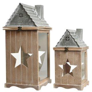 dekorative Garten-Laterne Tisch-Laterne Garten-Windlicht aus Holz/Metall in Haus-Form in 2 möglichen Größen