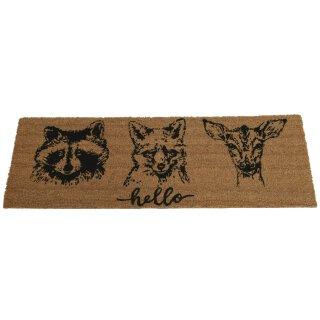 lange Kokos Fussmatte mit Tierköpfen und Hello mit Anti-Rutsch PVC Rücken