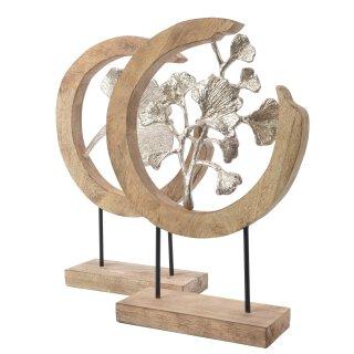 dekoratives Deko-Objekt Gingkoblatt Aluminium mit Mangoholz in 2 möglichen Ausführungen