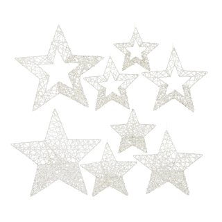 dekorative weihnachtliche Stern-Anhänger weiß-glimmer im 4-er Set ca. 40/30/25/20 cm in 2 möglichen Ausführungen