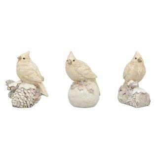 dekorative nostalgische Deko-Vögel geeist mit etwas Glitzer Preis für 3 Stück