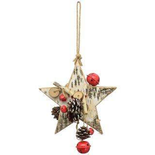 dekorativer weihnachtlicher Tür-Hänger Fenster-Hänger als Stern fertig dekoriert mit Glöckchen und Naturzapfen
